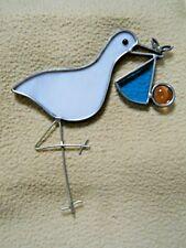 Vintage Stained Lead Glass Suncatcher / Stork & Baby / Shower Gift