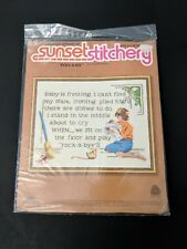 Vintage Sunset Stitchery Rock A Bye Baby Needlepoint Crewel Kit 11 by 14 Nursery