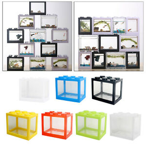 Mini Aquarium Clear  Tank Box for Betta Goldfish Insect Office Desktop Decor