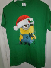 Mens Minions Christmas T-Shirt Green Minion With Santa Hat Size Small