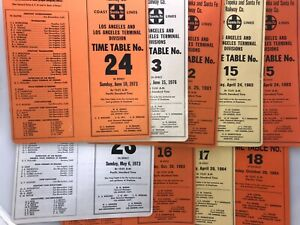 ATSF Santa Fe Railway Co employee time table Lot of 9 Los Angeles Division