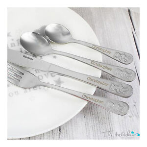 Engraved Childrens Cutlery Set - Personalised Kids Birthday Christening Gift