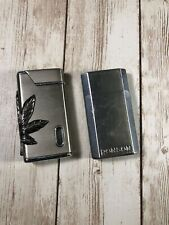2 Collectible Vintage Lighters Butane Silver Metal TESTED WORKS