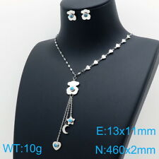 Stainless Steel Necklace Pendant Turquoise Star Moon Earrings Sets