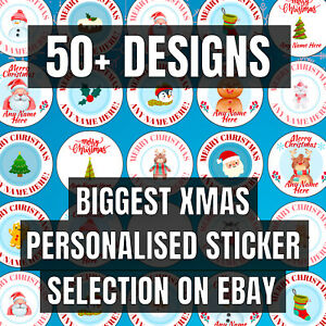 PERSONALISED Christmas Stickers / Merry Christmas Labels Gift Tags (70 Per Pack)