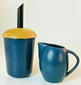 Hoganas Futura Keramik Westerhult Sweden Creamer/Sugar Bowl Set In Navy Blue