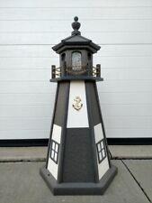 "24"" Gray & White Lighthouse Poly Vinyl Yard Garden Decor Outdoor Landscape"