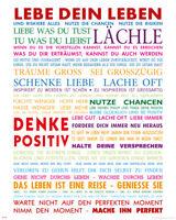 Lebe Dein Leben Bunt Motivational Kunstdruck - Mini Poster Druck Größe 40x50 cm