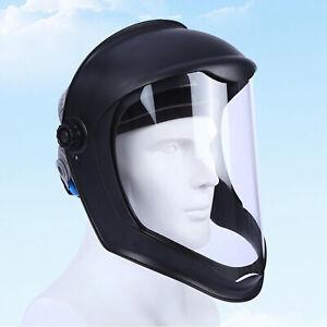Face Shield Helmet Mask Clear Polycarbonate Visor Safety Grinding Black