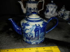 "Delft blue Holland teapot coffee 5"" tall Ironstone trademark lions"