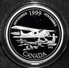 1999 Canada 25 cents Proof Silver Coin - November