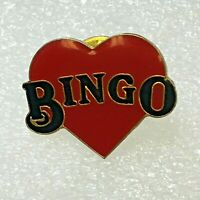 Vintage Bingo Red Heart Epoxy Coat Lapel Tack Pin