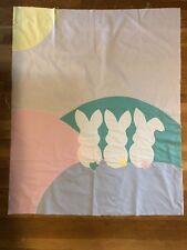 Vintage Appliqué Bunny Baby Quilt Top Panel Pastel Multi Color New