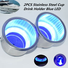 """2PCS 3-1/4""""Stainless Steel Cup Drink Holder w/Blue LED For Marine Boat Truck RV"""