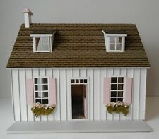 Vintage Built Handcrafted French Cottage Wooden Dollhouse with Furniture People