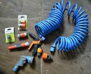 Bundle Joblot Gardening Garden Coil Curly Water Hose Adapters Gun Mixed lot