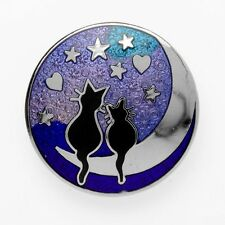 New Silver Tone Blue Enamel Black Cats on the Moon Round Brooch in Gift Box