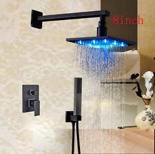 """LED Oil Rubbed Bronze 8"""" Rain Bathroom Shower Faucet Set W/Diverter Mixer Valve"""
