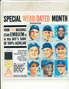 1964 Willie Mays, Nellie Fox, Yogi Berra t shirt envelope promotional