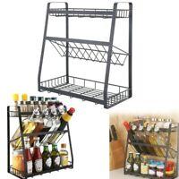 Metal 3-Tier Storage Organizer Spice Jars Bottle Shelf Holder Rack Kitchen