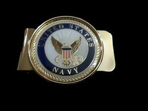 U.S MILITARY NAVY CREST LOGO MONEY CLIP BRASS CONSTRUCTION OFFICIAL NAVY PRODUCT