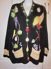 Storybook Knits Fruit Cardigan sweater with grapes pears apples Plus Size 2x