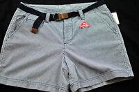"women's St. John's Bay blue striped shorts size 12 w/ belt 5"" inseam brand new"
