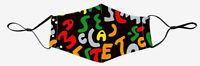 Masque Tissu Enfant Alphabet Réutilisable Fixations Réglables Poche à Filtre