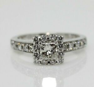 14ct White Gold 0.75ct Diamond Cluster Engagement Ring Size I 1/2, US 4 1/2