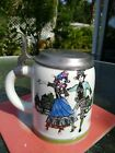 Vtg Women's small German Beer Stein with pewter lid, mint cond Mug