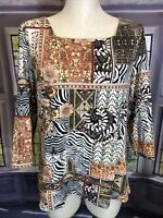 Chicos 2 Brown Geometric Print Square Neck 3/4 Sleeve Pullover Top