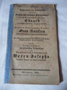 Altenburg Beschreibung des Einzuges u.der Feierlichkeiten des Fürstenpaares 1853