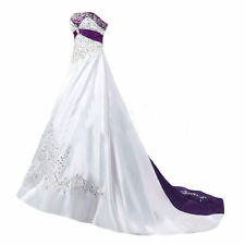 White And Purple Wedding Dresses Satin Embroidery Beaded Bridal Gown Custom