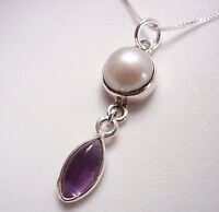 Cultured Pearl and Amethyst Marquise 925 Sterling Silver Necklace