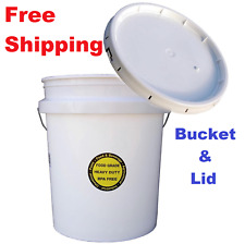 5 Gallon All Purpose Bucket with Lid Commercial Food Grade Durable Plastic USA