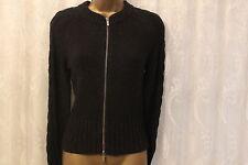 Karen Millen Twist Chunky Knit Crop Long Sleve Wool Zip Cardigan Jumper Top 2 10