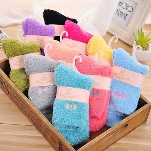 2 Pairs Womens Girls Fleece Socks Embroidery Bow Decor Warm Fluffy Cozy Sleeping