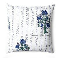 Indien Ethnique Coton Floral Kantha Coussin Housse Handmade 40.6cm Oiseaux 40 CM