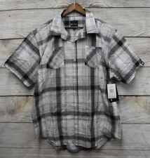 Akademiks Big Mens 4x Grey White & Black Slim Fit Plaid Button Front Shirt