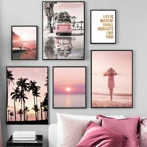 Wall Art Sunset Beach Coconut Tree Surfboard Nordic Posters Canvas Painting