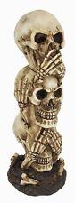 "See Hear Speak No Evil Stacked Skull Pillar Column Figurine 7.5""H Fantasy Gift"