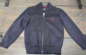 Polo Ralph Lauren Toddler Boys 4/4T Blue Pony Full Zip Sweater Cotton Cardigan