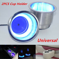 2PCS Stainless Steel Cup Drink Holder w/Blue LED Light For Marine Boat Truck RV