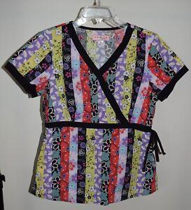 Koi Kathy Peterson Small Scrub Top Multi Pattern Floral V-Neck Tie-Waist