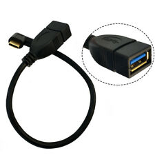 USB 3.1 Type C Angle Male to Standard Type A USB3.0 Female Data Cable Black 25cm