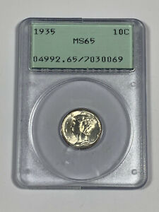 1935 PCGS MS65 Silver Mercury Dime in OGH - Old Green Holder