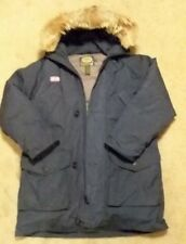 Cabelas Goose Down Jacket Mens Sz L Tall With Coyote Fur Hood Navy