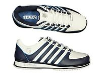 MENS NEW TRAINERS K.SWISS RINZLER SP WHITE LACE UP LEATHER TRAINERS SIZES 6 - 12