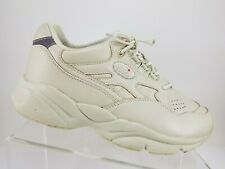 Propet Stability Walker Cream Leather Lace Up Athletic Shoes Womens 8 4E W2034