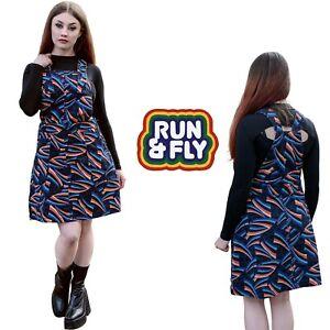 Run & Fly Women's Cotton 70's Inspired Pinafore Dress Black Shooting Stars